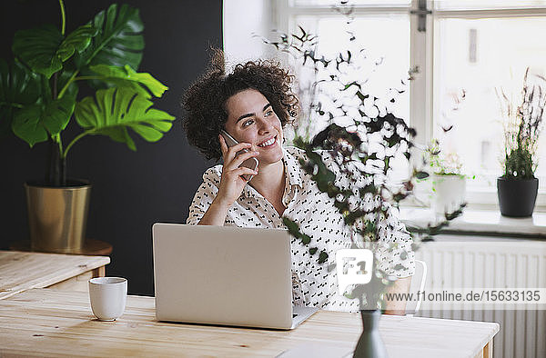 Smiling young woman on the phone in home office