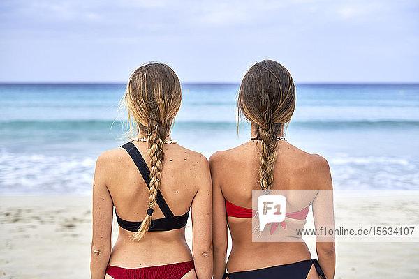 Rückansicht von zwei jungen Frauen  die am Strand stehen