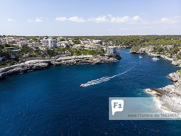 Spain  Balearic Islands  Mallorca  Aerial view of bay Cala Figuera