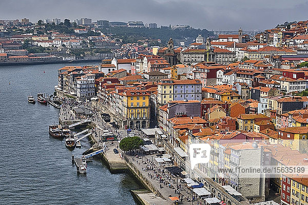 Portugal  Porto  Douro river and waterfront city seen from above