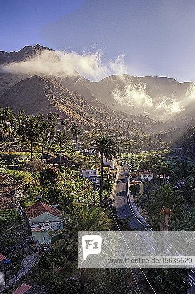 El Guro in the morning light  Valle Gran Grey  La Gomera  Canary Islands  Spain