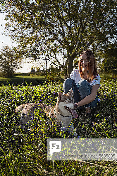 Happy young woman stroking her dog on a meadow