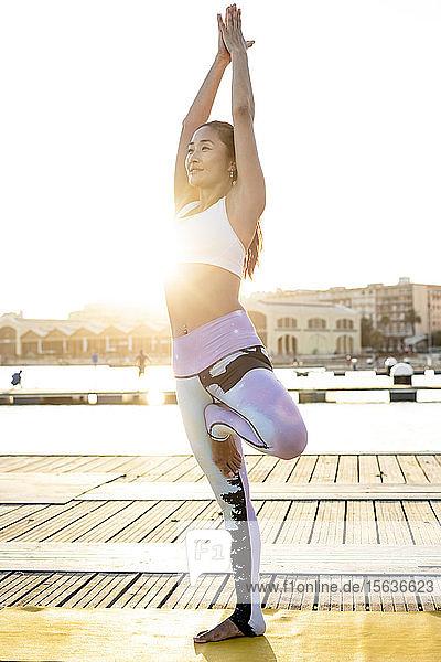 Asiatische Frau praktiziert Yoga auf einem Pier im Hafen  Baumposition Asiatische Frau praktiziert Yoga auf einem Pier im Hafen, Baumposition