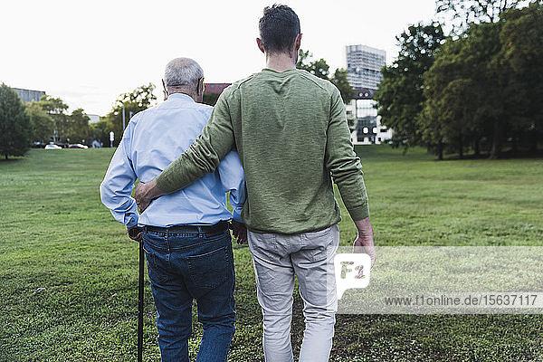 Rückenansicht eines jungen Mannes  der seinem Großvater beim Gehen hilft