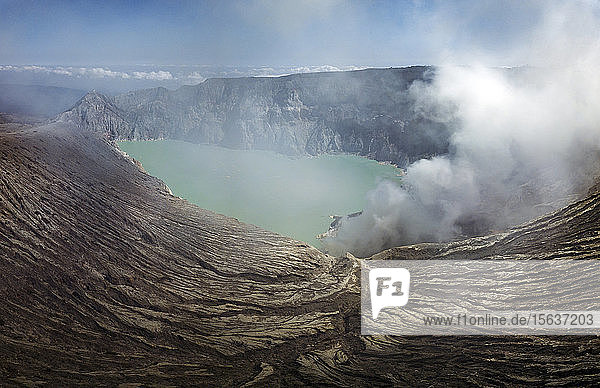 Indonesia  Java  aerial view of Ijen volcano
