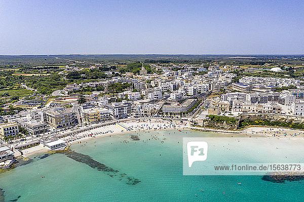 Italien  Apulien  Lecce  Luftaufnahme der Küste