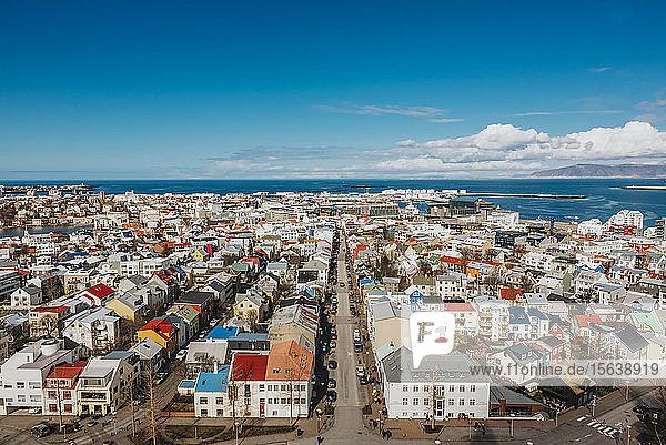 View of Reykjavík  from the top of Hallgrimskirkja; Reykjavik  Iceland