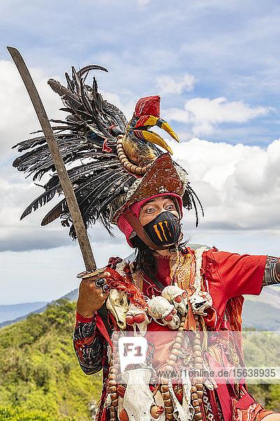 Minahasan tribesman by Mount Mahawu; North Sulawesi,  Indonesia