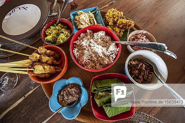 Balinese dishes served at Ruma Desa Balinese Home and Cooking Studio; Banu  Bali  Indonesia