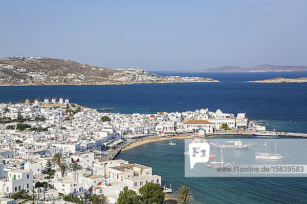 Mykonos town and harbour; Mykonos Town  Mykonos Island  Cyclades  Greece