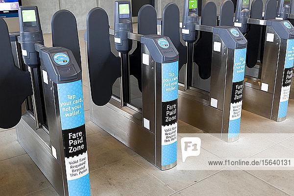 Fare paying station at light rail transit station; Surrey  British Columbia  Canada