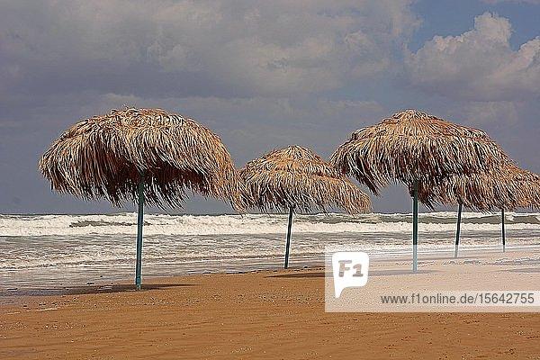 Sonnenschirme am Strand von Georgioupolis  Kreta  Griechenland  Europa