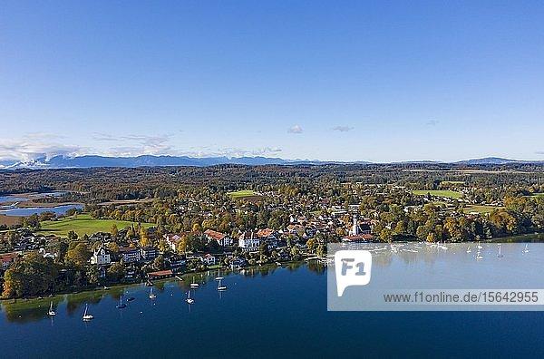 Seeshaupt am Starnberger See  hinten Osterseen  Luftbild  Fünfseenland  Oberbayern  Bayern  Deutschland  Europa