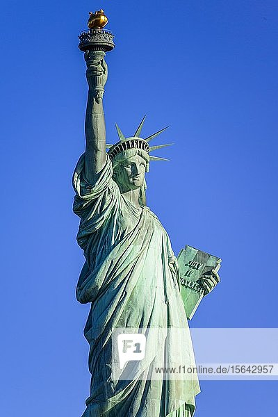 Freiheitsstatue vor blauem Himmel  Liberty Island  Statue of Liberty National Monument  New York City  New York  USA  Nordamerika