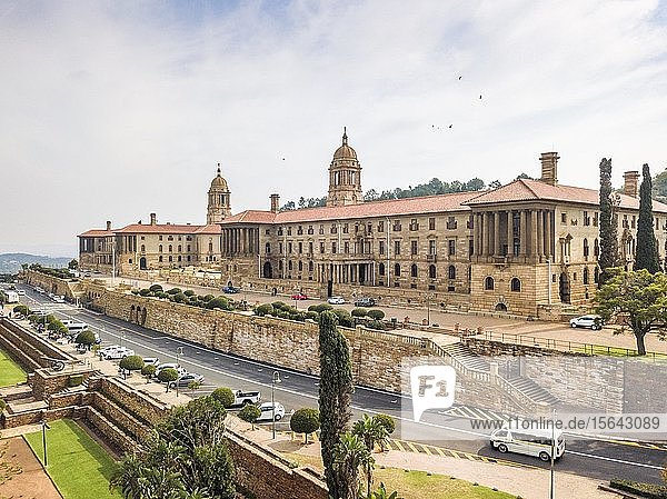 Aerial view of Union Buildings  house of Government and President  Pretoria  South Africa  Africa