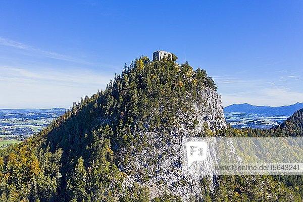 Höhenburg  Burgruine Falkenstein  bei Pfronten  Ostallgäu  Allgäu  Luftbild  Schwaben  Bayern  Deutschland  Europa