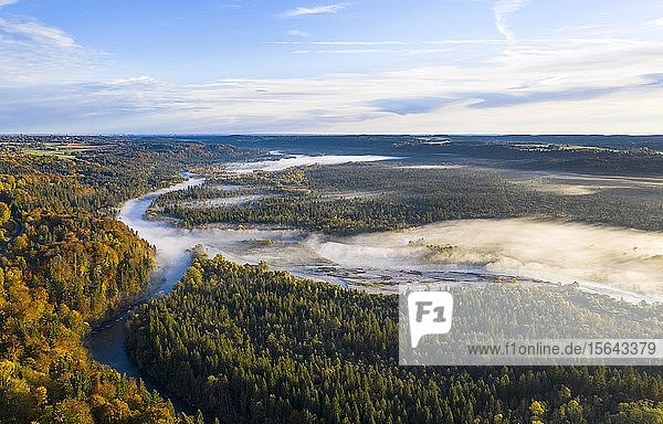Mündung von Loiach in Isar  Pupplinger Au  Isarauen  Luftbild  Oberbayern  Bayern  Deutschland  Europa
