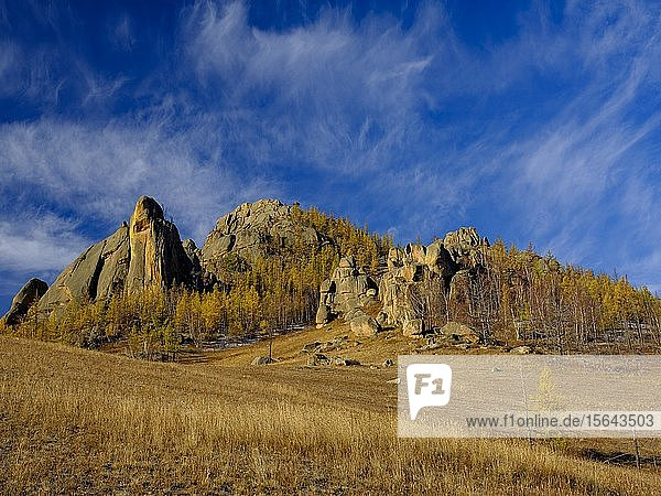 Felsformationen im Gorchi-Tereldsch-Nationalpark  Ulan Bator  Mongolei  Asien