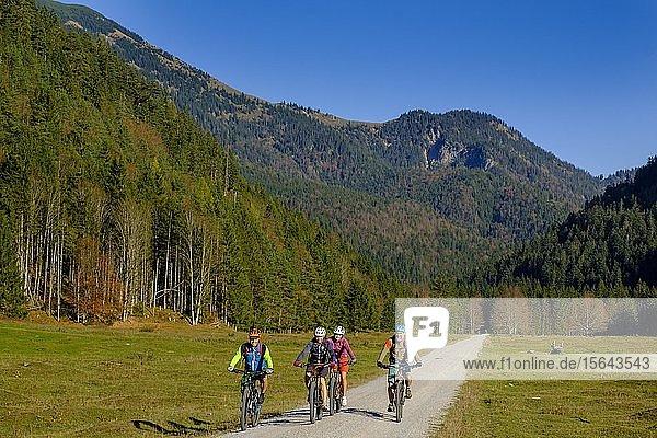 Fahrradfahrer  Mountainbiker an der Kloaschaualm  Kloo-Ascher Tal  bei Bayrischzell  Oberbayern  Bayern  Deutschland  Europa