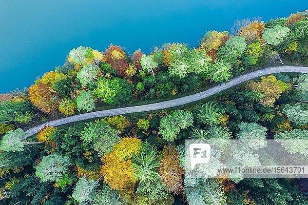 Drohnenaufnahme  Herbst im Schwäbischen Wald  Herrenbachstausee  Herrenbachtal  Landkreis Göppingen  Baden-Württemberg  Deutschland  Europa