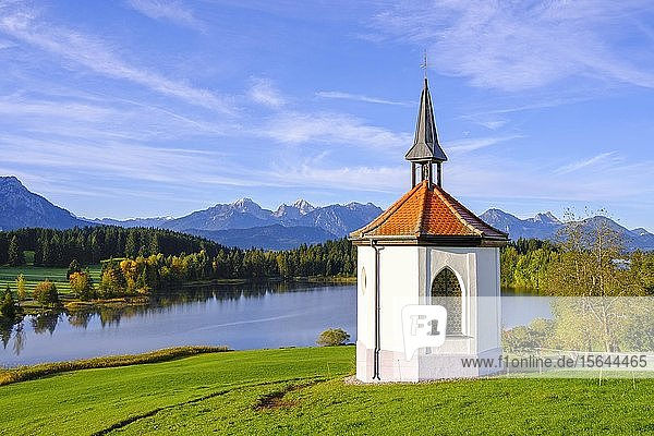 Hofkapelle Hegratsried  Hegratsrieder See  bei Halblech  hinten Tannheimer Berge  Ostallgäu  Allgäu  Schwaben  Bayern  Deutschland  Europa