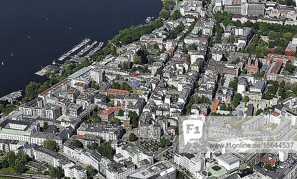 Luftbild  Stadtteil St. Georg  Lange Reihe  Außenalster  Hamburg  Deutschland  Europa