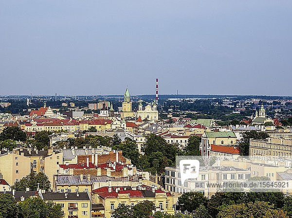 Stadtansicht  Zentrum  erhöhte Ansicht  Lublin  Woiwodschaft Lublin  Polen  Europa