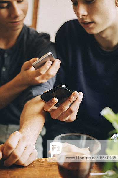 Midsection of male teenagers using mobile phones while sitting together at home