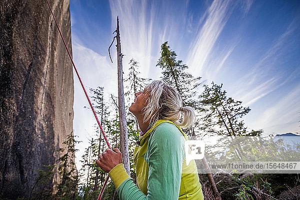 Bergsteiger  der ein Seil hält und nach oben schaut Heatwave  The Chief  Squamish  Kanada
