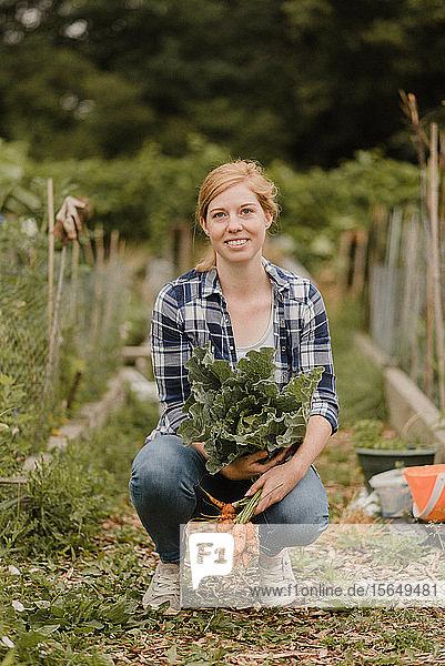 Frau trägt Kohl und Karotten im Schrebergarten