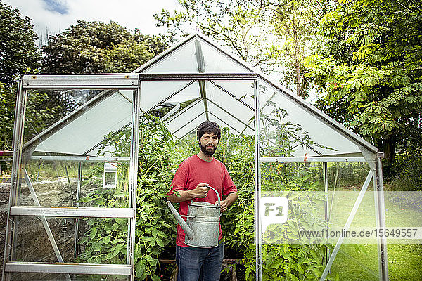 Portrait of gardener watering tomatoes in greenhouse in organic vegetable garden