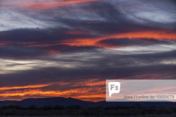 Sunset over Boise Foothills in Boise  Idaho  USA