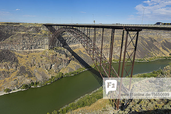 Bridge crossing Snake River at Twin Falls  Idaho  United States of America