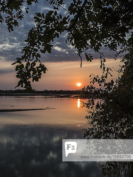 Sunset on the Luangwa River in South Luangwa National Park  Zambia