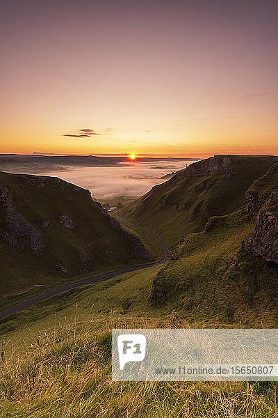 Winnats Pass at sunrise  Hope Valley  Edale  Peak District  Derbyshire  England  United Kingdom