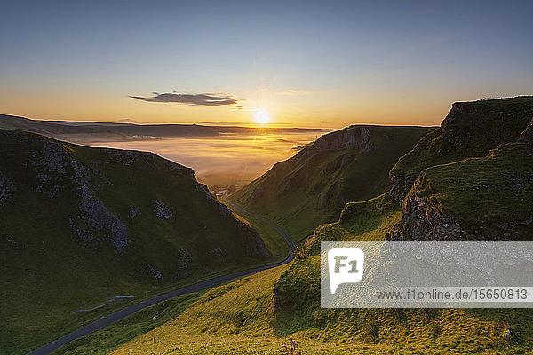 Winnats Pass with cloud inversion at sunrise  Hope Valley  Edale  Peak District  Derbyshire  England  United Kingdom