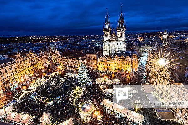 Prague's Old Town Square Christmas Market viewed from the Astronomical Clock during blue hour  UNESCO World Heritage Site  Prague  Czech Republic