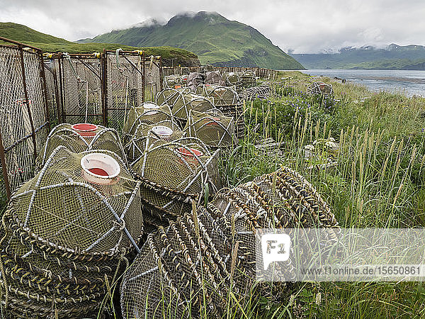Crab fishing pots being stored at the dock in Dutch Harbor in the community of Unalaska  Alaska  United States of America