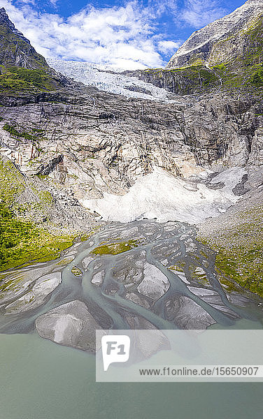 Aerial by drone of Boyabreen Glacier in summer  Jostedalsbreen National Park  Fjaerland  Sogndal  Sogn og Fjordane county  Norway  Scandinavia