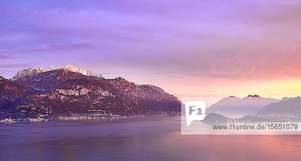 Bellagio and Varenna viewed from Menaggio on the western shore of Lake Como at sunset  Lombardy  Italian Lakes  Italy