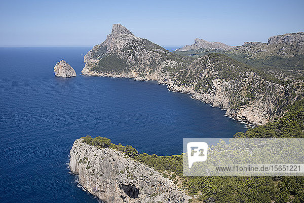 Rugged headland at Cap de Formentor seen from Mirador es Colomer on the northern coast of the Mediterranean island of Mallorca  Balearic Islands  Spain