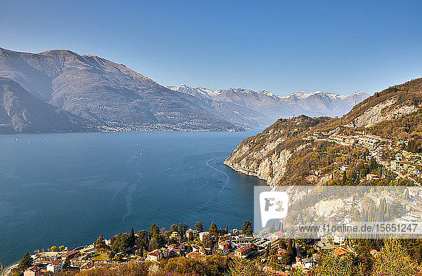 High angle view of Lake Como from Castle Vezio with Varenna and Gittana  Lombardy  Italian Lakes  Italy