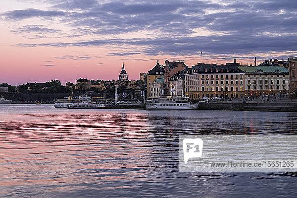 Stockholm during twilight blue hour  Stockholm  Sweden  Scandinavia