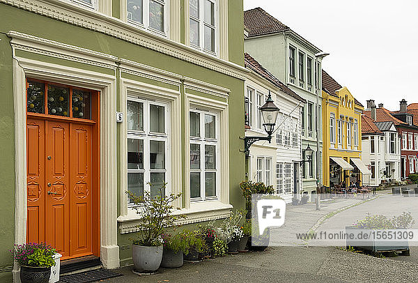 Colourful old houses in Nordness  Bergen  Norway  Scandanavia