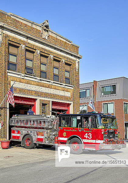 Red Fire Truck outside fire station in Chicago  Illinois  United States of America  North America