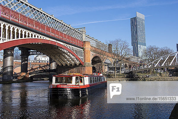 The Castlefield Basin  and Beetham Tower  Castlefield  Manchester  England  United Kingdom