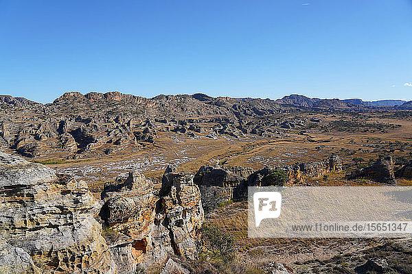 Eroded sandstone rock formations at Isalo National Park  Fianarantsoa province  Ihorombe Region  Southern Madagascar  Africa