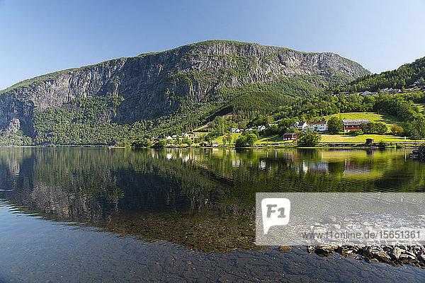 Reflections in still water at Lake Granvinvatnet  Hordaland  Vestlandet  Norway  Scandinavia