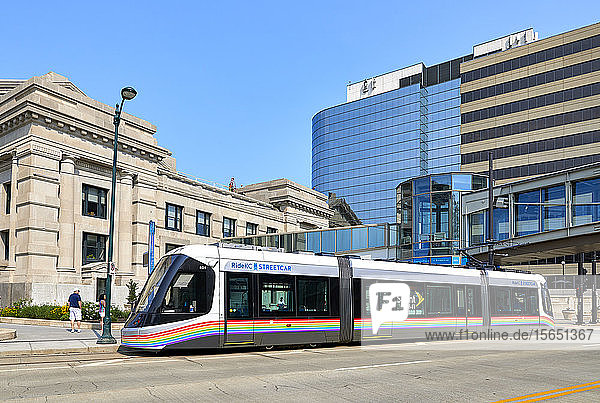 A Kansas City Streetcar outside Union Station in Downtown Kansas City  Missouri  United States of America  North America