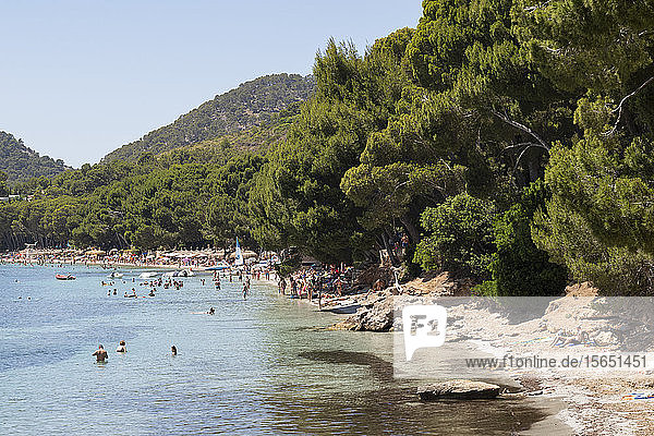 People relaxing in the calm waters of the beautiful bay of Playa (Platja) de Formentor on the northern coast of Mallorca  Balearic Islands  Spain  Mediterranean